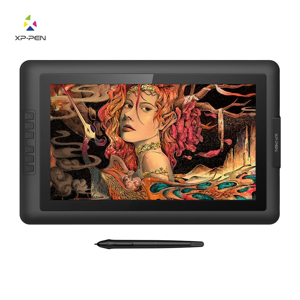 XP-Pen Artist15.6 Drawing tablet Graphic monitor Digital Pen Display Graphics with 8192 Pen Pressure Battery-free Passive Stylus