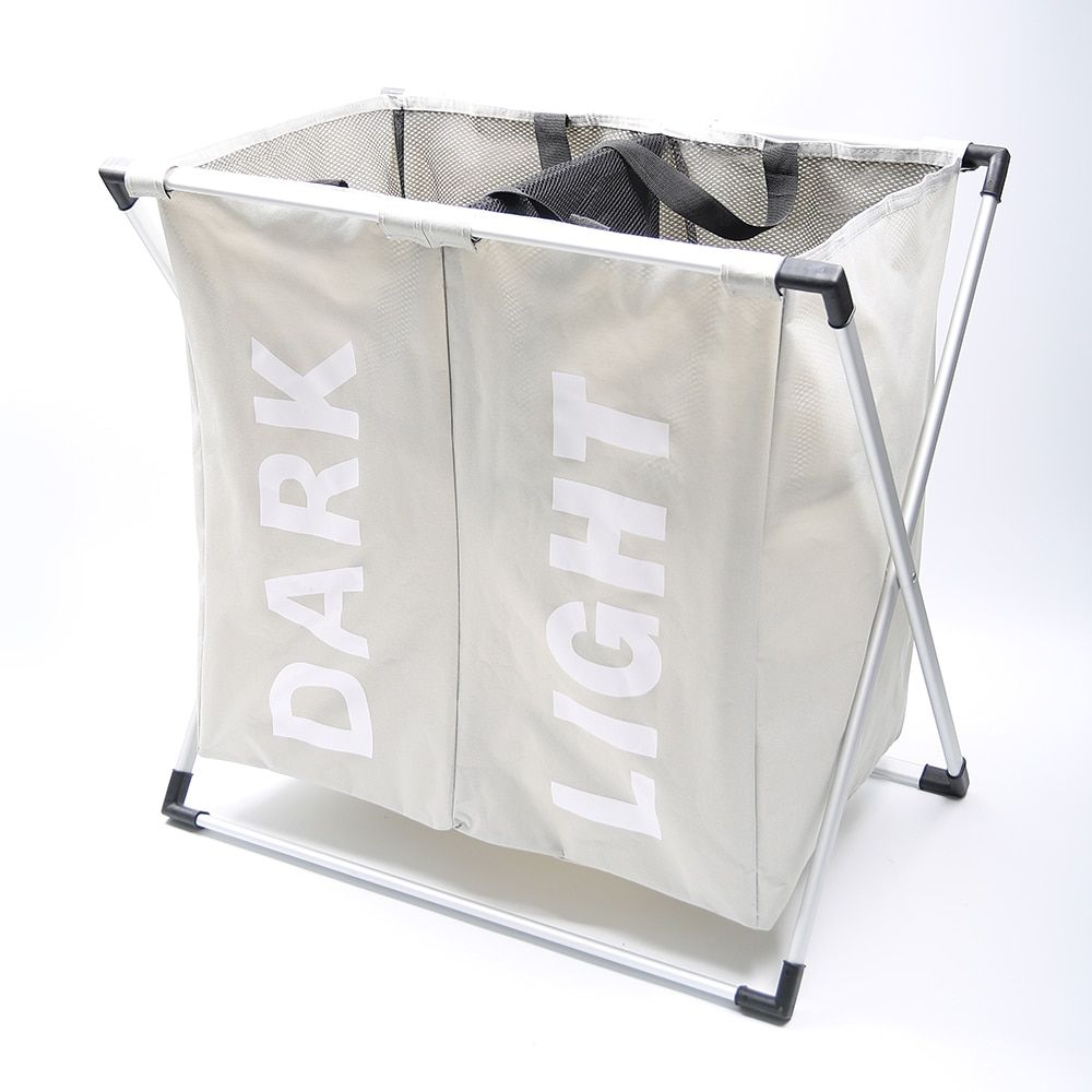 SHUSHI waterproof dirty clothes basket Foldable creative laundry basket Two grid clothes organizer bathroom laundry hampers