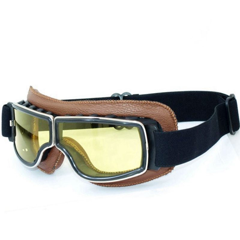 Genuine Leather Aviator Pilot Cruiser Cycling Bicycle Motorcycle Goggles Glasses Eyewear Brown Frame Yellow lens