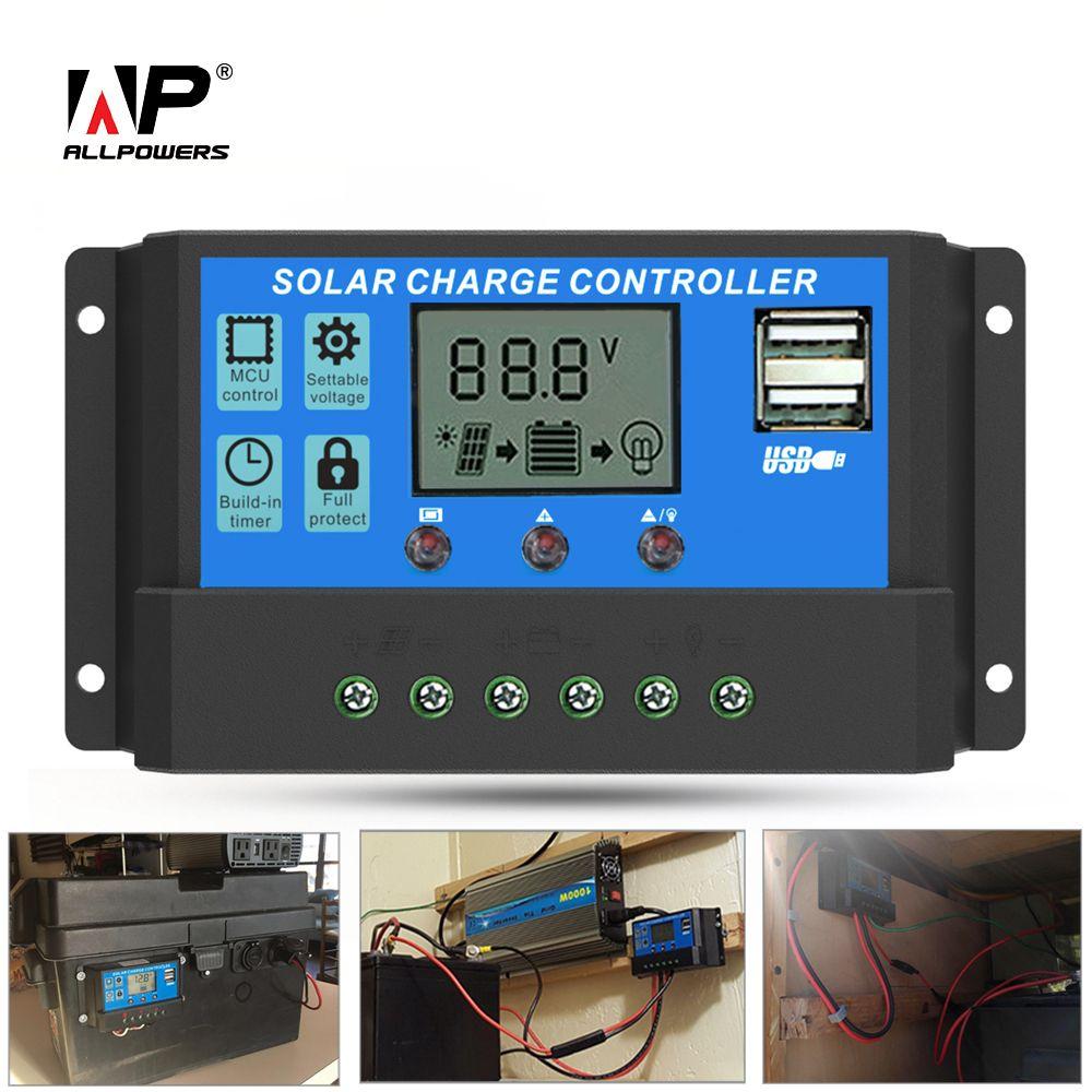 ALLPOWERS Panneau Solaire Onduleur 20A 12 v 24 v Contrôleur De Panneau Solaire Régulateur avec ÉCRAN LCD Puce Avancée Stable plus.