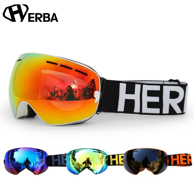 New HERBA brand ski goggles Double Lens UV400 Anti-fog Adult Snowboard Skiing Glasses Women Men Snow Eyewear