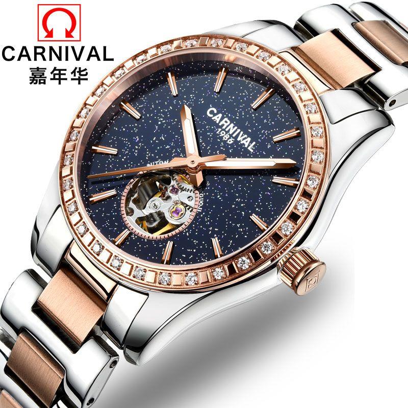 Montre femme 2018 Luxus Mechanische Uhren Frauen Tourbillon KARNEVAL Automatische Uhr Frauen Diamanten Kreis Leucht Wasserdicht