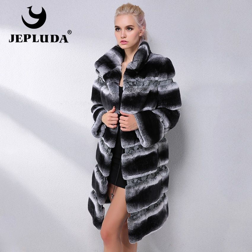 JEPLUDA Brand Fashion Natural Rex Rabbit Fur Coat Winter Suit Collar Thick Real Fur Coat Women Real Fur Jacket Leather Jacket
