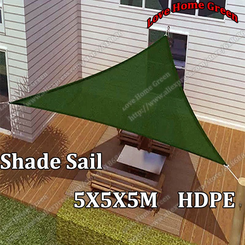 New Triangular Sun Shade Net Combination Shade Sail garden Awning Canopy HDPE 5X5X5M