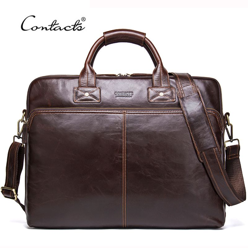 CONTACT'S 2018 Genuine Leather Men's Travel Bag Casual Shoulder Totes Men Briefcases Laptop Bag Large Capacity Messenger Bags