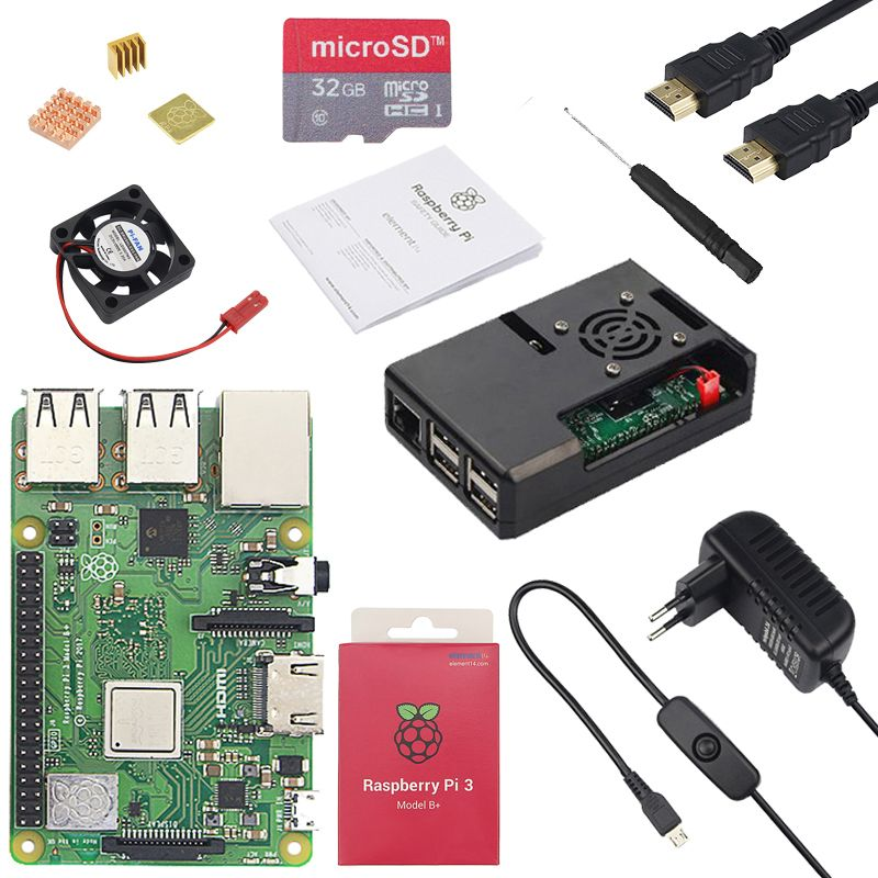 Original Raspberry Pi 3 Model B Plus + ABS Case + CPU Fan + 3A Power with ON/OFF Switch + Heat Sink for Raspberry Pi 3 Model B+