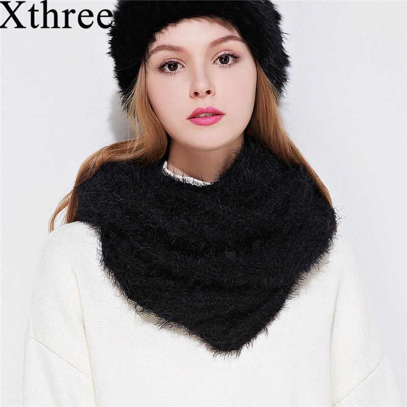 Xthree new Winter Warm knitting scarf Ring Collar Scarves Girls Neck Scarf Unisex Soft Solid Ring