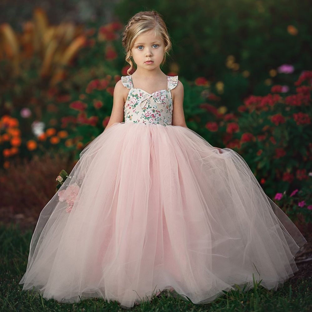2019 Kids Baby Girls Floral Tutu Dress Party Wedding Dresses Princess Tulle Long Maxi Dress Summer Children Baby Girl Clothing
