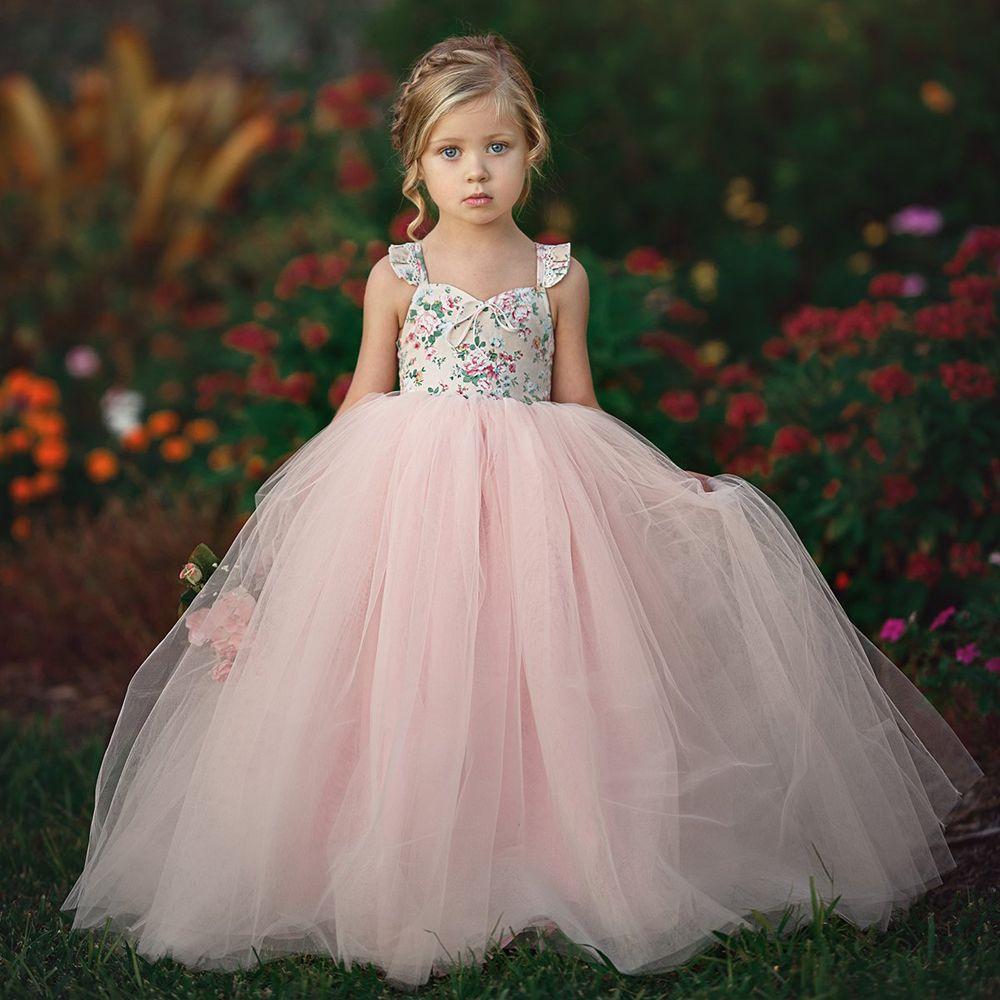 2019 Kids Baby Girls Floral Tutu Dress Party Wedding Dresses Princess Tulle Long Maxi Dress Summer Children Baby Girl Clothing