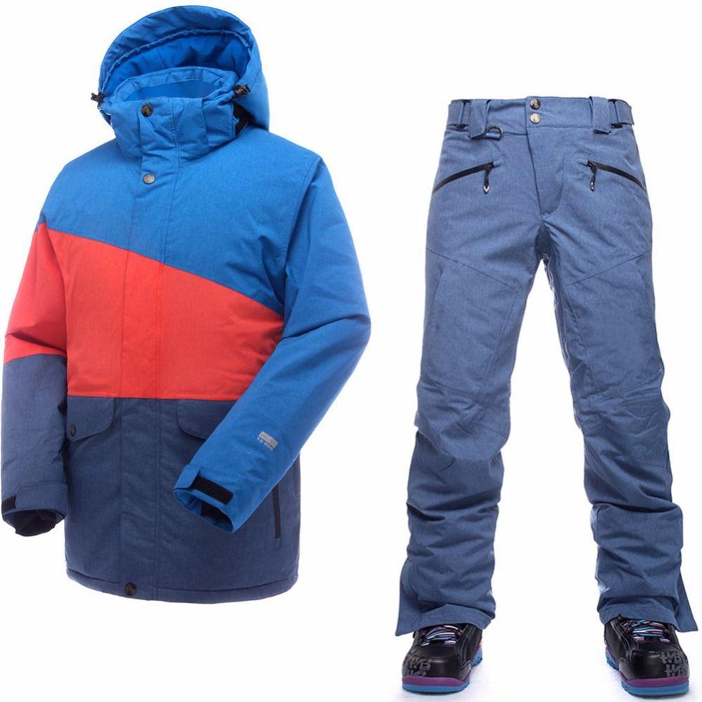Saenshing ski suit men waterproof thermal ski jacket + snowboard pants male mountain skiing and snowboarding winter snow set