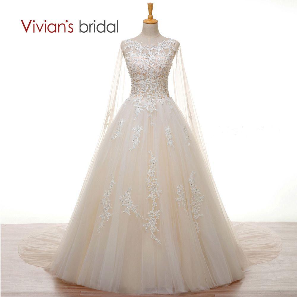 Vivian's Bridal Crystal Pearl White Lace Champagne Wedding Dress Long Cape A Line 2018 Wedding Gown Cheap Customize Bridal Dress