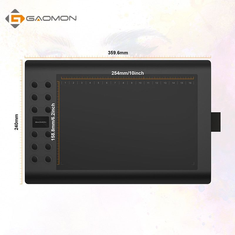 GAOMON M106K - 10 Inches Professional Digital Graphic Tablet Art Drawing Board with USB <font><b>Rechargeable</b></font> Pen