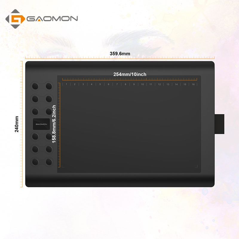 GAOMON M106K - 10 Inches Professional Digital Graphic Tablet Art Drawing Board with USB Rechargeable Pen