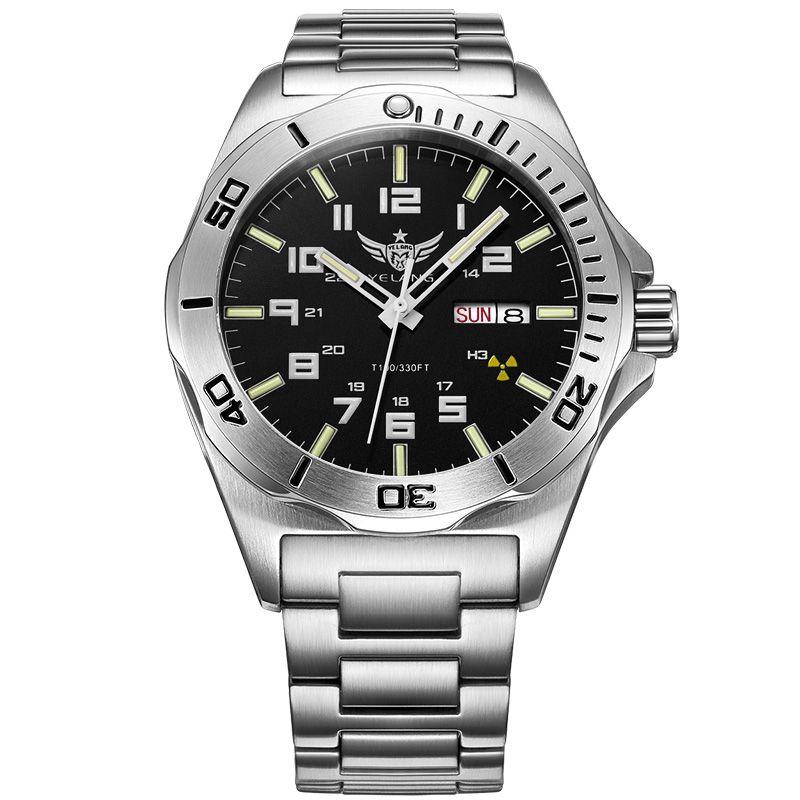 YELANG V1019 mens steel waterproof 100m tritium luminous dual calendar business automatic mechanical wrist watch