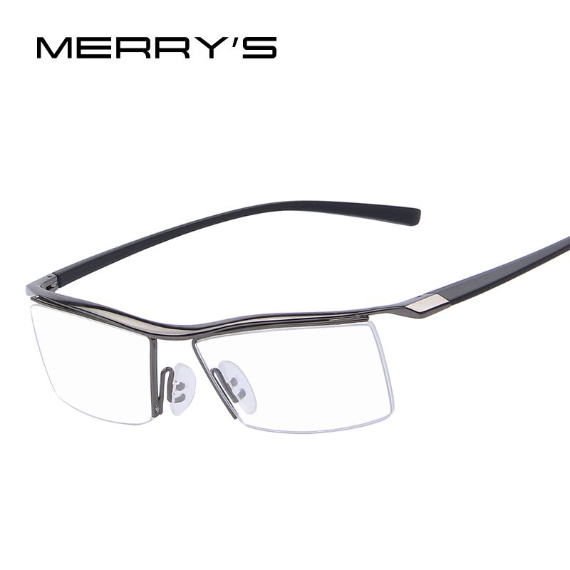 MERRY'S Men Optical Frames Eyeglasses Frames Rack Commercial Glasses <font><b>Fashion</b></font> Eyeglasses Frame Myopia Titanium Frame TR90 Legs