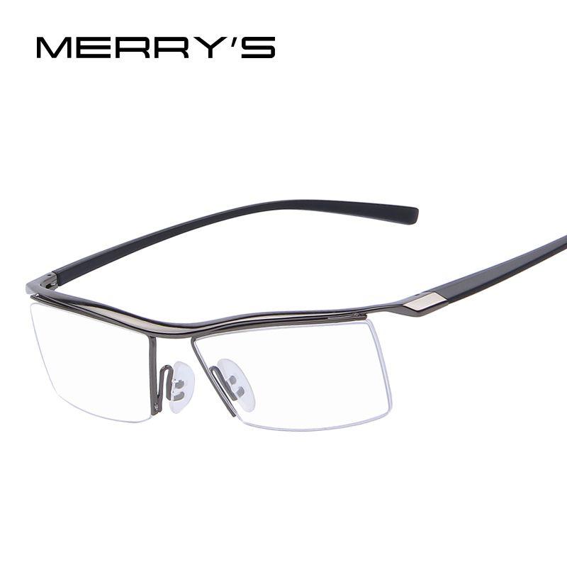 MERRYS hommes cadres optiques lunettes cadres Rack lunettes commerciales mode lunettes cadre myopie titane cadre TR90 jambes