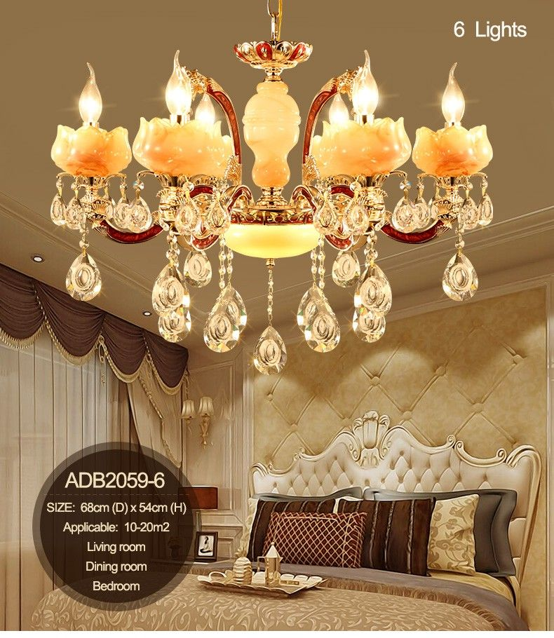 Luxury Simulated Jade LED Crystal Chandeliers Lighting Fixtures With 6 Arms 8 Arms 15 Arms For Living Room Lighting (ADB2059)