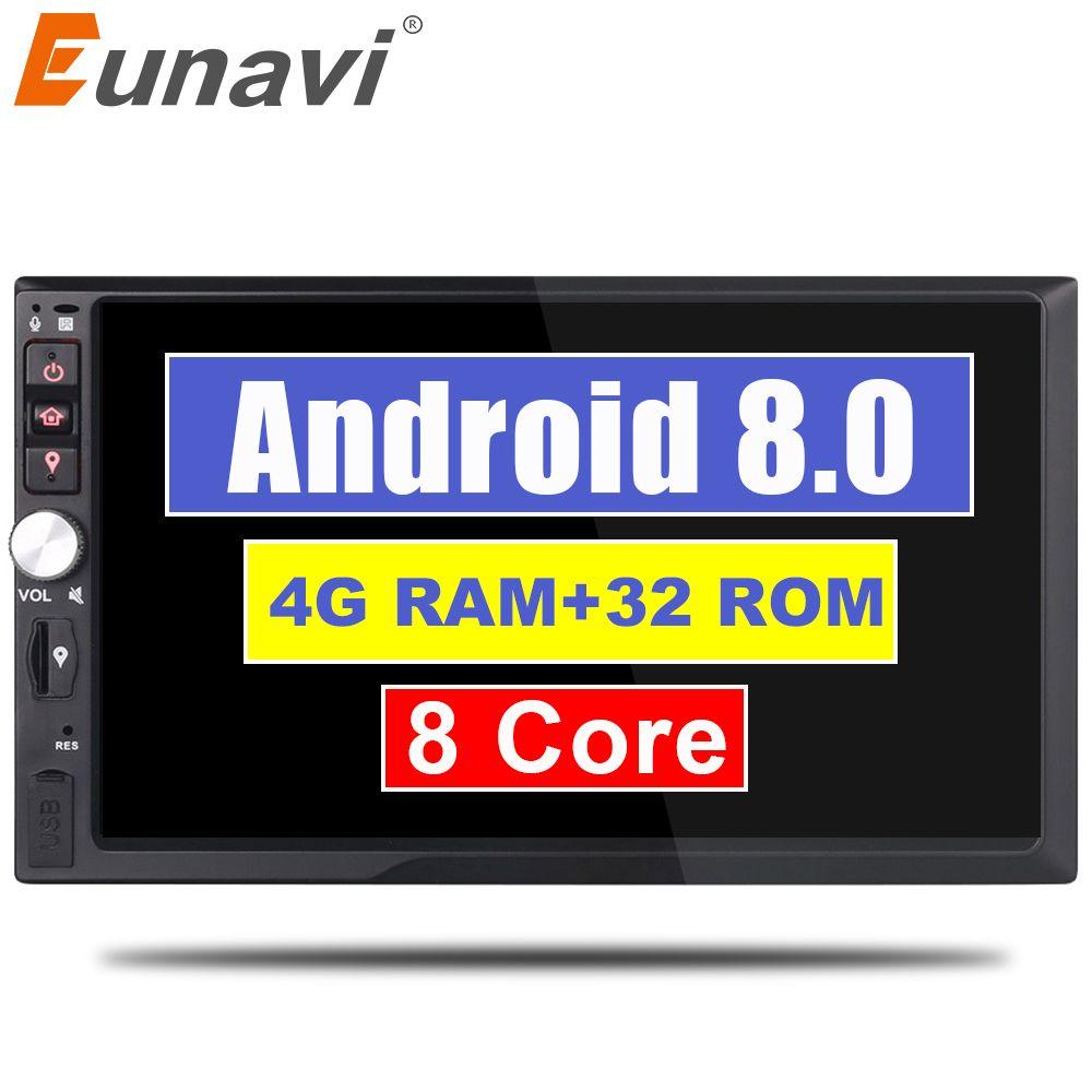 Eunavi 2 Din 7'' Octa core Universal Android 8.0 4GB RAM Car Radio Stereo GPS Navigation WiFi 1024*600 Touch Screen 2din Car PC