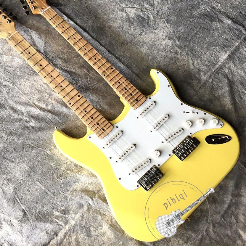 Kostenloser transport, zwei-necked elektrische gitarre 6/12 string, creme-farbige, griffbrett nuten, silber hardware, anpassbare!