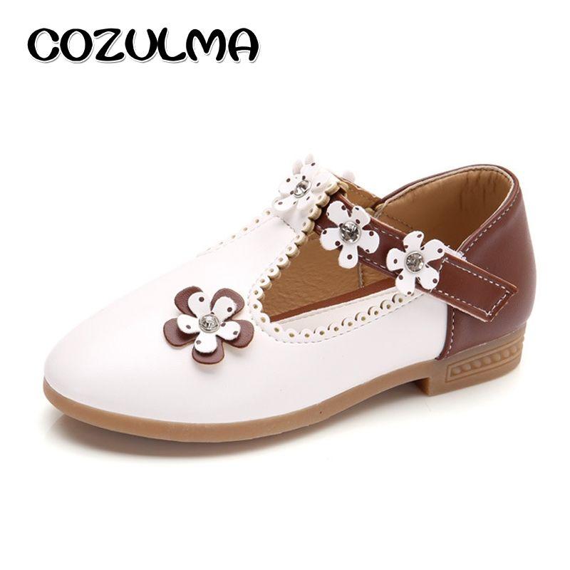 COZULMA enfants chaussures décontractées enfants filles en cuir chaussures filles princesse fleur fête chaussures chaussures plates pour enfant espadrilles décontractées taille 21-36