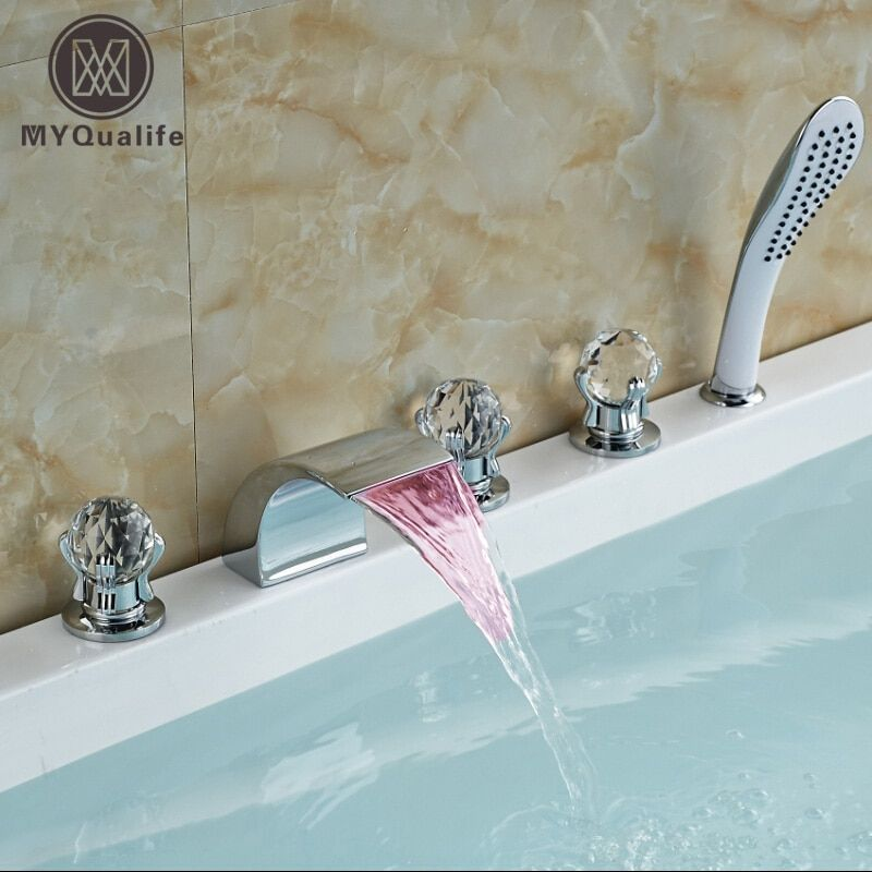 Fashion LED Color Changing Waterfall Bathroom Tub Faucet Widespread 5PCS Shower Bathtub Mixer Tap