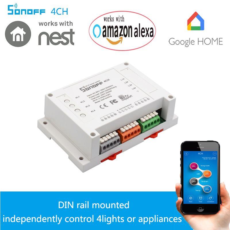 Sonoff 4CH-4 Canal Wifi Commutateur Intelligent Universel Din Rail De Montage Maison Intelligente Appareil IOS Android À Distance Tourner SUR ou OFF