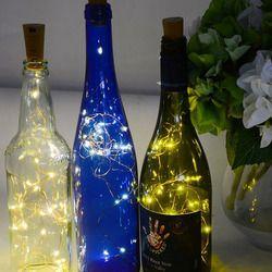 2 M 20 leds tiras Tapones vino RGB LED tira luz de la noche del partido inicio decoración de la boda lámpara de la secuencia cobre Alambres lámpara