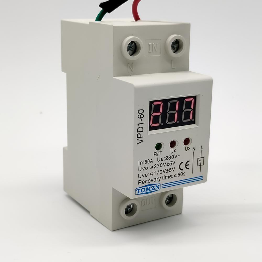 VPD1 40A 60A 220V rebrancher le relais de dispositif de protection contre la surtension et la sous-tension avec le moniteur de tension du voltmètre