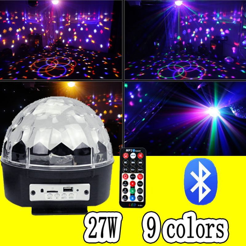 27W LED Bluetooth magic ball <font><b>disco</b></font> DJ remote control ball light stage effect soundlights Christmas project laser party lights