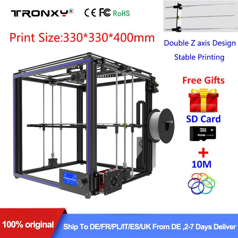 Best Tronxy X5S 3D Printer DIY full kit Direct Extruder heatbed Stable Large 3D Printing Size 330*330*400mm Double Z axis Design