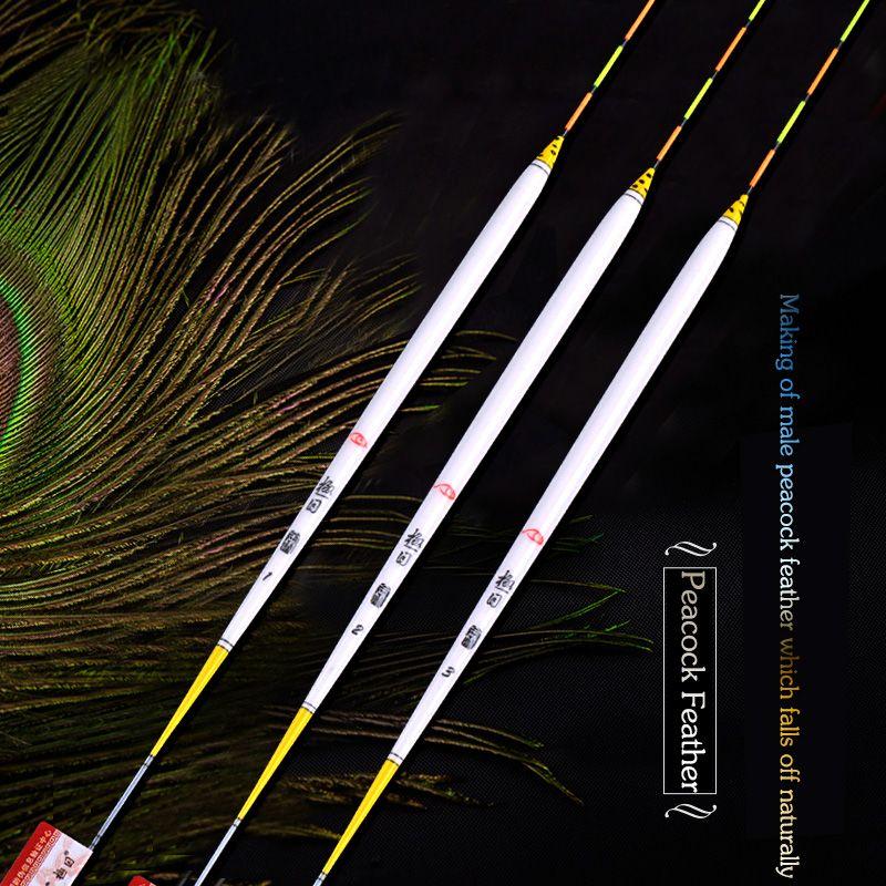 Hochwertigen Pfauenfeder Fischen Schwimmt 1-3 # Karpfen & Karausche Float Stopper Pesca Flotteur Bobbers Angelzubehör Tackles