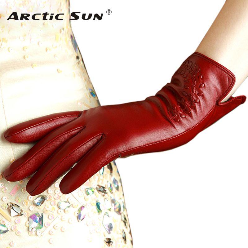 KLSS marque en cuir véritable femmes gants de haute qualité gants en peau de chèvre automne hiver élégant gants en peau de mouton femme 2303