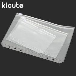 Kicute Panas A5 A6 A7 PVC Zipper Pouch Standar 6 Lubang Transparan Tas Tagihan Kartu Tas Longgar Daun Kartu Plastik pemegang Kantong