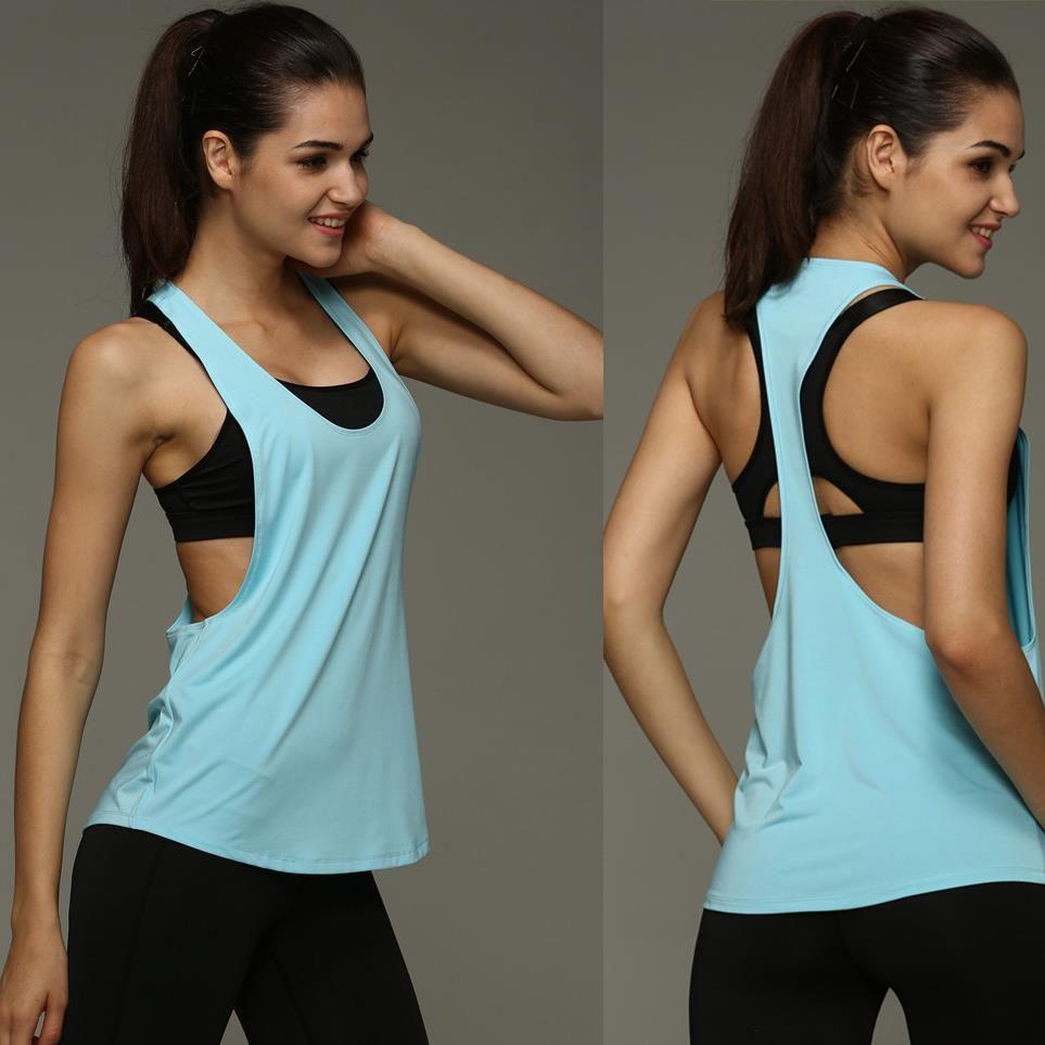 8 Couleur D'été Sexy Sportives Femmes Débardeur Fitness Workout Tops Gyming Femmes Chemises Sans Manches Sportives Séchage rapide Lâche Gilet