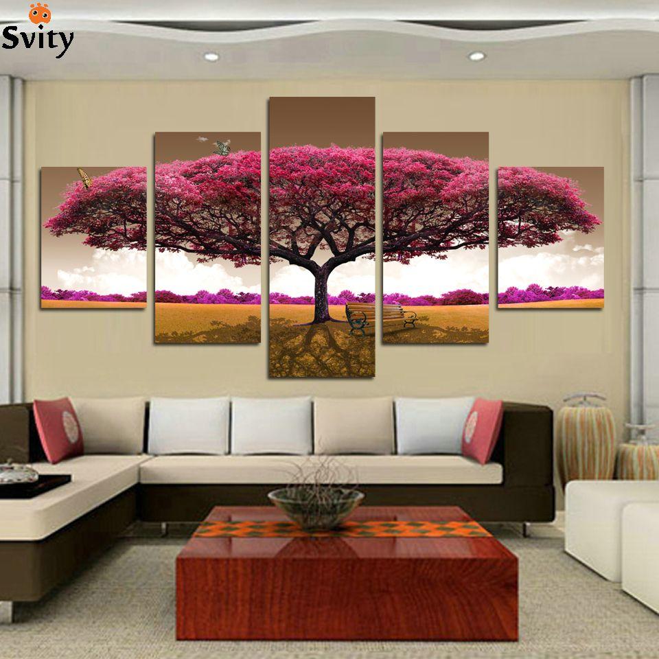 CHAUDE 5 panneau Imprimé arbre art paysage paysage modulaire image grande toile peinture pour chambre salon chambre mur de la maison art décor