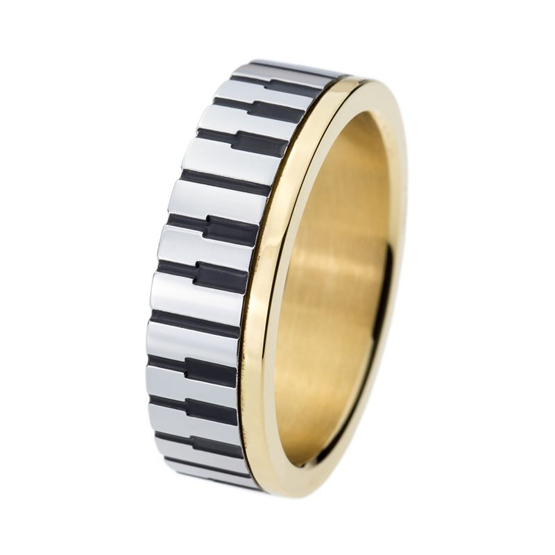 Drop shipping 7mm Men Women' Gold Color Piano Key Board Ring for Music <font><b>Lovers</b></font> 316L Stainless Steel Wedding Engagement