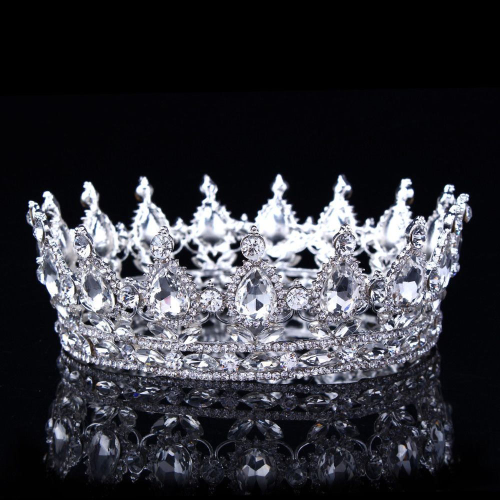 Vintage Baroque cristal strass couronne mariée mariage princesse couronnes pour les femmes Pageant bal cheveux accessoires bijoux, argent