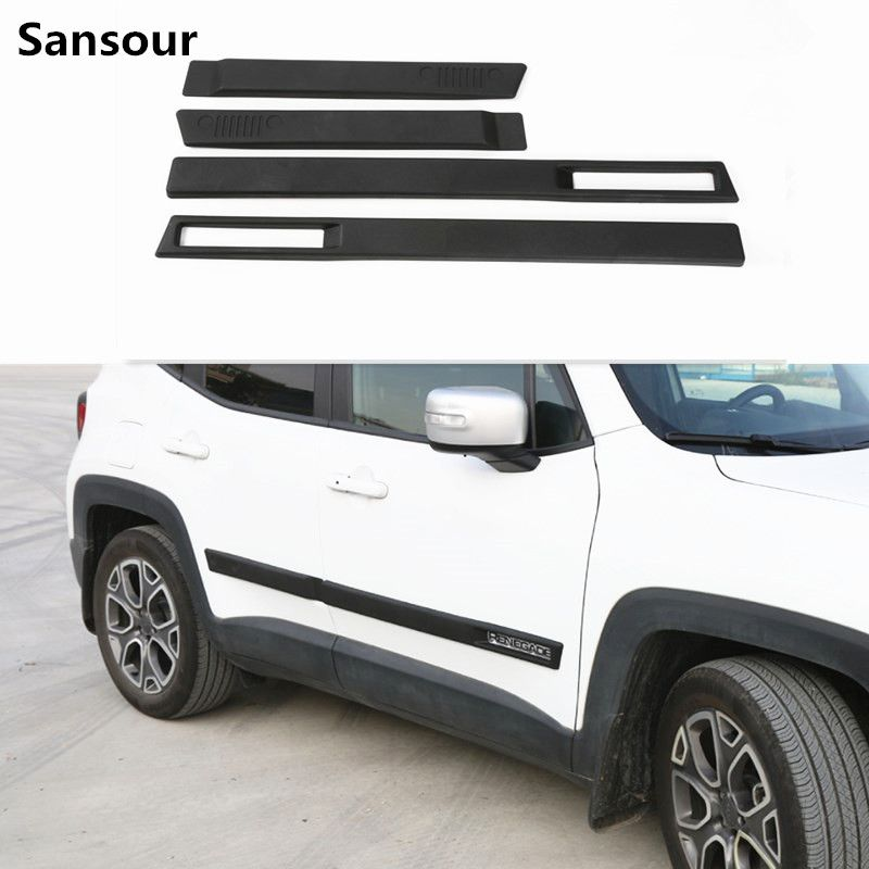 Sansour New ABS Body Side Moulding Door Cover Trim Kit Molding Protector Car Styling Mouldings for Jeep Renegade 2015 up