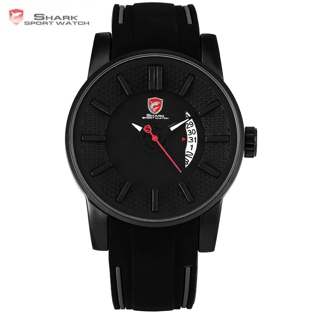Grey Reef Shark Sport Watch Black 3D Special Designer Top Brand Luxury Date Silicone Band Waterproof Quartz Mens Watches /SH477