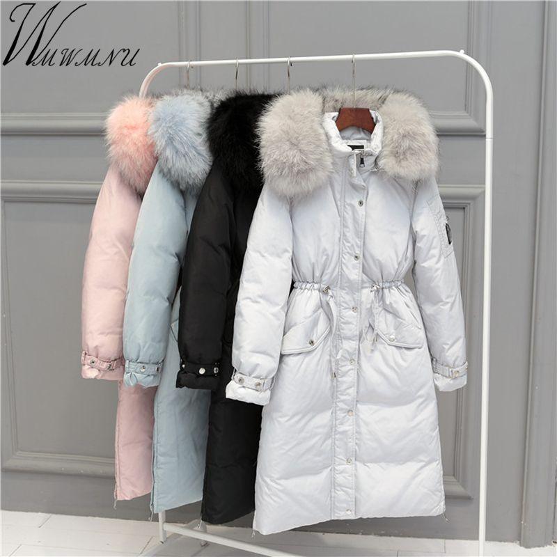 Wmwmnu 2017 Warme Hohe Qualität Frau Parka Winter lange Jacke Mantel mit echt waschbären pelz kragen Winter Frauen Dicken Mantel jacke