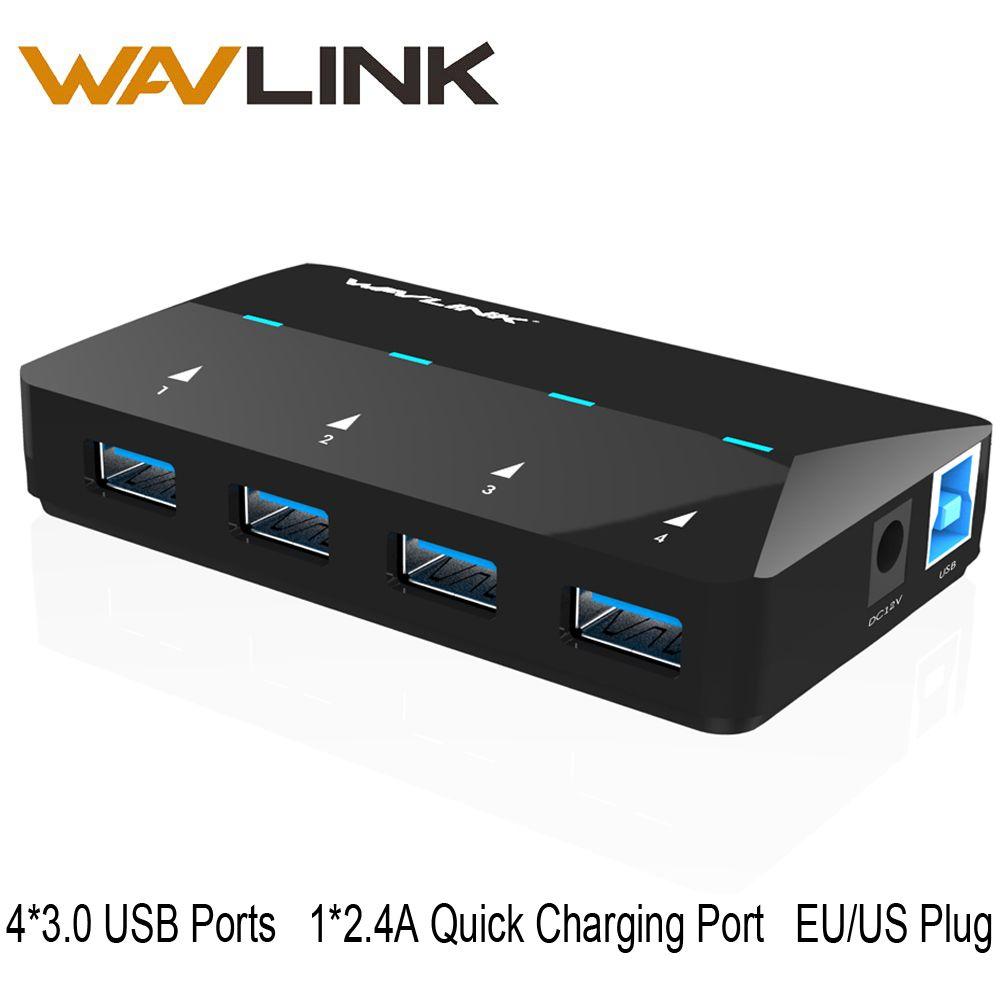 Wavlink 4-Ports L'UE/NOUS Usb Hub avec Adaptateur USB 3.0 Hub avec 1 Port de Charge jusqu'à 2.4A USB Hub Microsoft Windows MAC 10.1