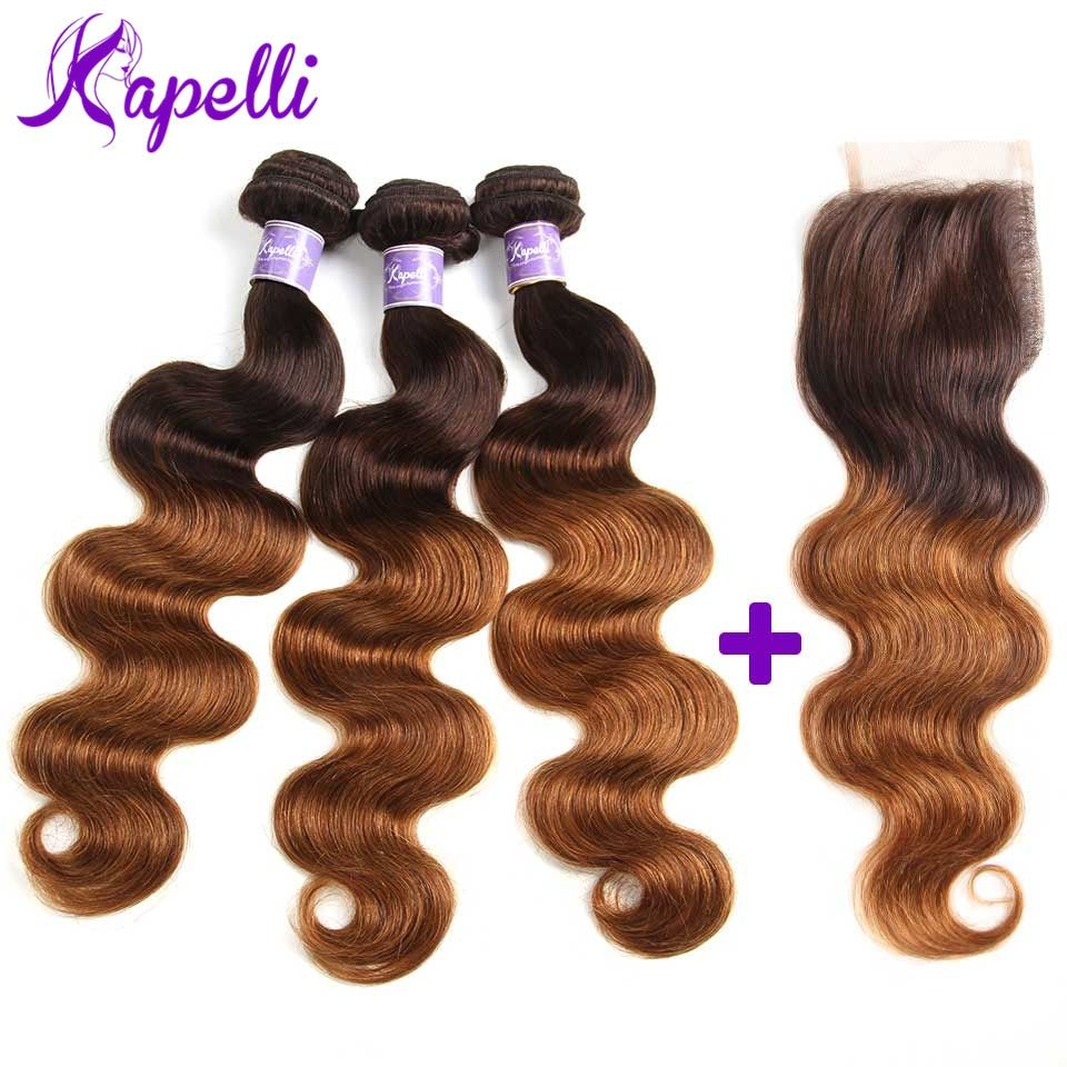 Ombre Bundles With Closure Ombre Brazilian Hair <font><b>Body</b></font> Wave 3 Ombre Human Hair Blonde Bundles With Closure 4*4 Remy Hair T4/30