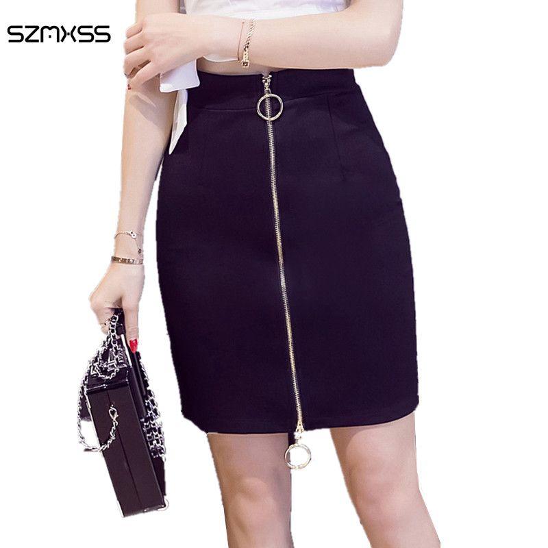 S-5XL Mini Skirt Plus Size High Waist Fashion 2017 Summer Women Package Hips Black Double Metal Ring Skirts Office Ladies Wear