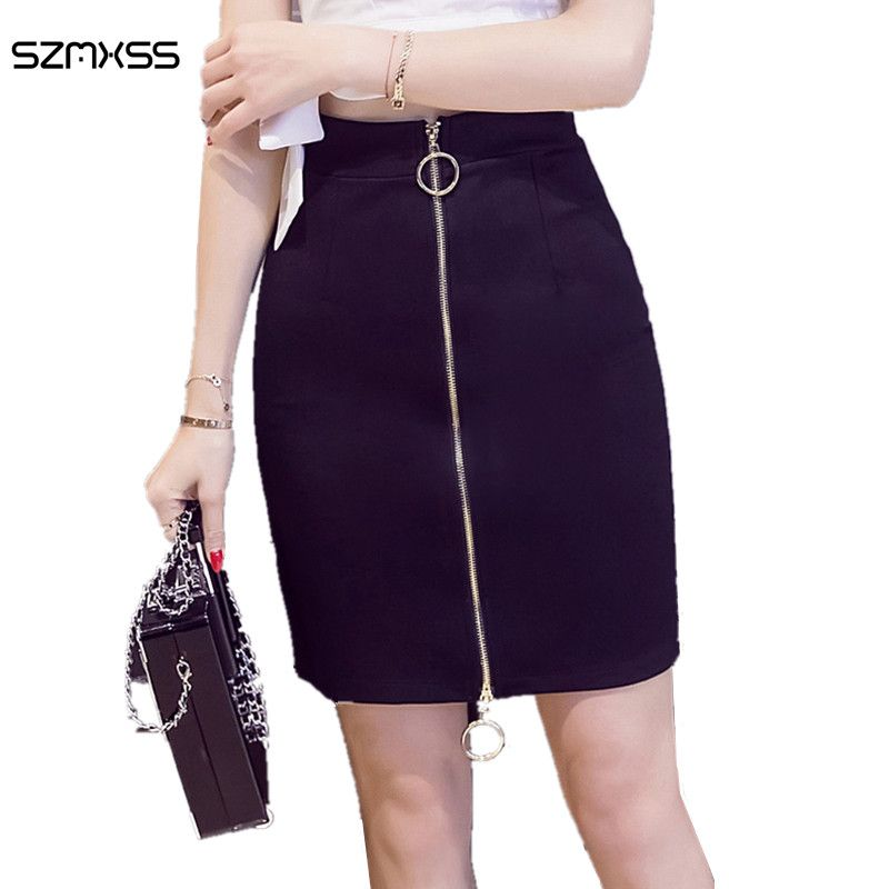 S-5XL Mini Skirt Plus Size High Waist Fashion 2017 Summer Women Package Hips Black Double Metal Ring Skirts Office Ladies Wear