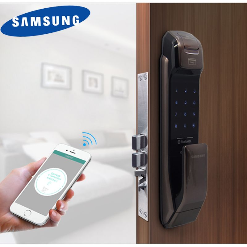 SAMSUNG SHP-DP728 Keyless BlueTooth Fingerprint PUSH PULL Two Way Digital Door Lock English Version Big Mortise Bronze Color
