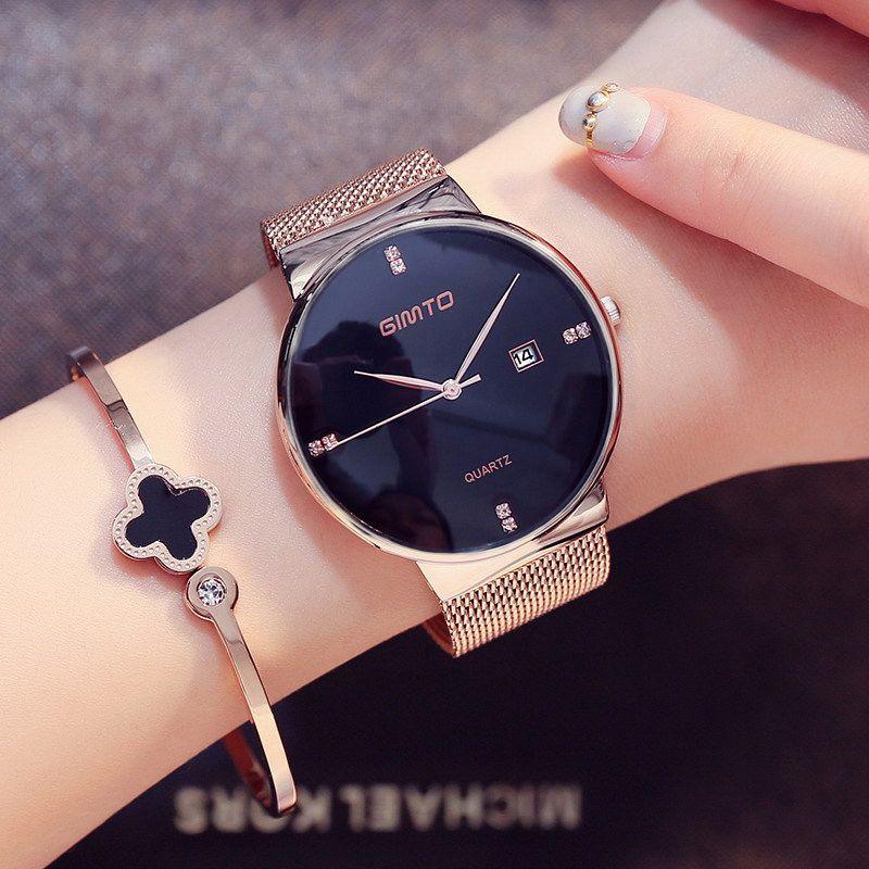 Luxury GIMTO Fashion Ladies Watches Rose <font><b>Gold</b></font> Women Watches Elegant Minimalism Rhinestone Casual Black Female Waterproof Clock