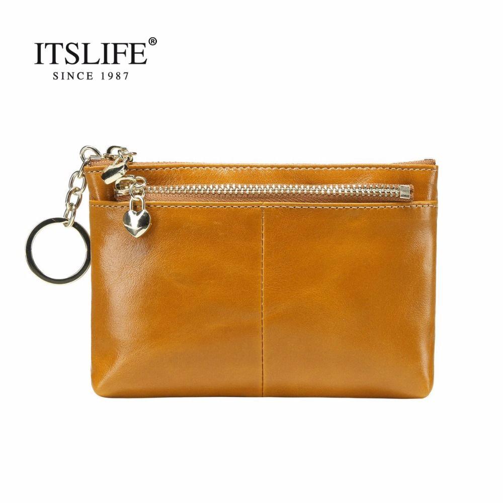 New women genuine leather Mini bag leather coin purse oil wax leather key wallet head cowhide money holder zipper change wallet