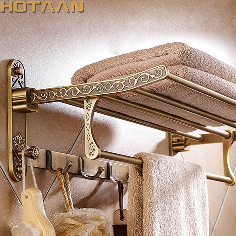 Aluminum Foldable Antique Brass Bath Towel Rack Active Bathroom Towel Holder Double Towel Shelf With Hooks Bathroom Accessories