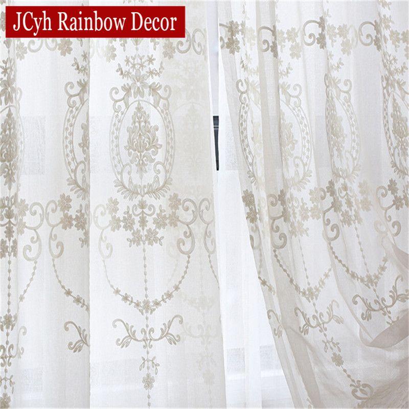 Rideaux en Tulle blanc brodé pour salon Voile européen rideaux transparents pour fenêtre chambre rideaux en dentelle rideaux tissus rideaux