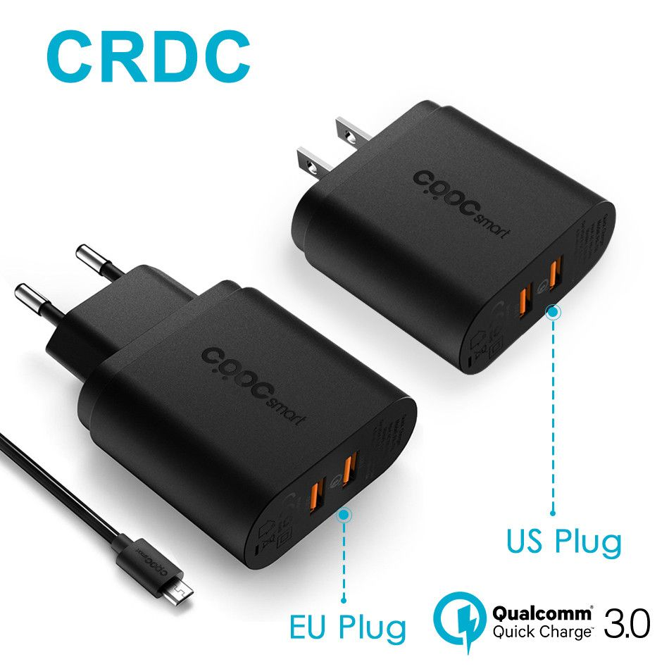 CRDC Usb Charger 36W Dual Quick Charge 3.0 Mobile Phone Wall Charger for iPhone Samsung S8 S7 6 Xiaomi &More, QC2.0 Compatible